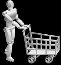 robot z wózkiem na zakupy